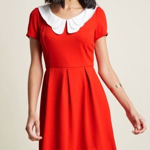 Modcloth Sunny Girl red dress peter pan collar